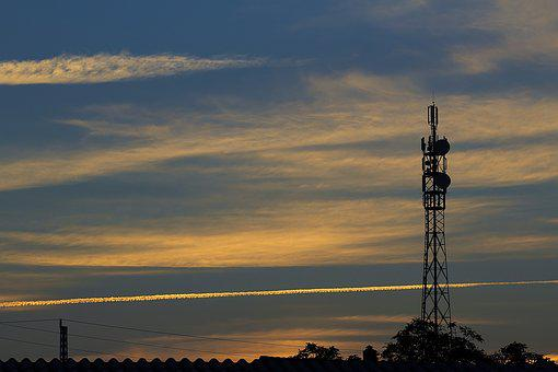 Sunset, Mast, Television Mast, Radio Mast, Tower Brace
