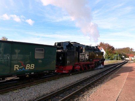 Rügen, Railway, Train, Steam Locomotive, Historically