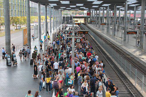 Group Of People, Railway Station, Stop, Crowds, Wait