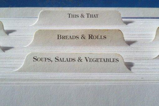 Recipe, Tab, Index, Cards, Dividers, Print, Food, Book