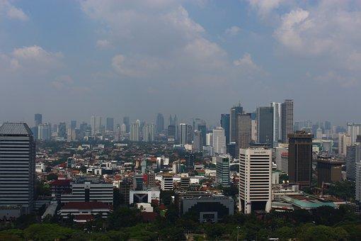 Jakarta, Smog, Architecture, Skyline, City, Cityscape