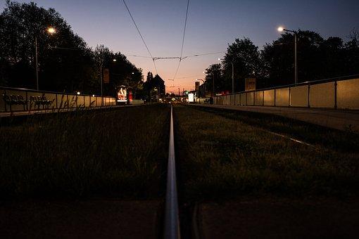 City, Rails, Train, Tracks, Evening, Grass