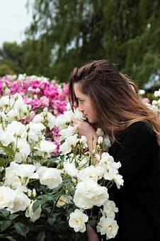 Sniffing Flowers, Sniffing Roses, Young, Woman, Girl