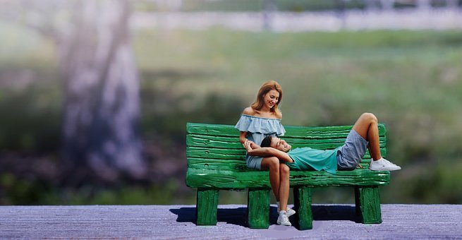 Boy And Girl, Boy, Girl, Beach, Green, Hd, Bench