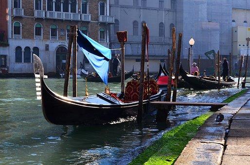 Venice, Italy, Gondola, Street View, Water