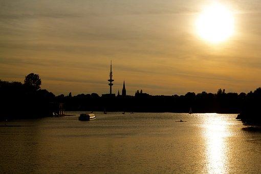 Hamburg, Skyline, Alster, Hanseatic City