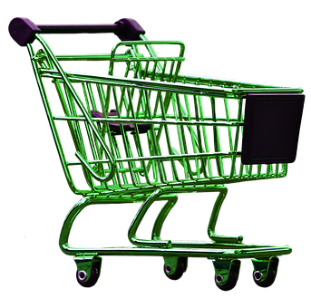 Shopping Cart, Green, Isolated, Exemption, Cut Out