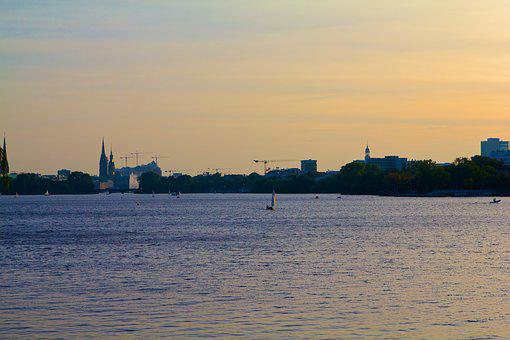 Hamburg, Ill, Alster, Lake, Water, Hanseatic City, Ship