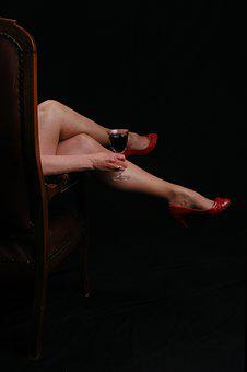 Woman, Temptation, Mysterious, Legs, Red