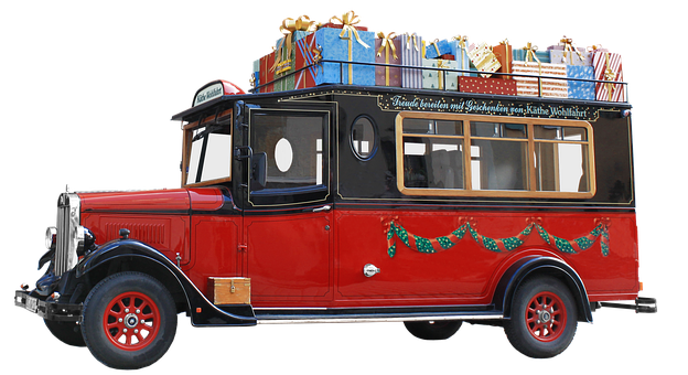 Isolated, Oldtimer, Bus, Christmas Download