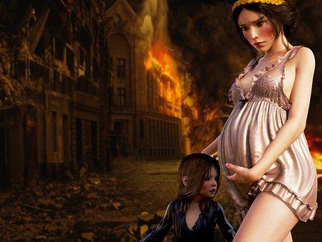 Pregnant, Child, War, Escape, Historically, Maternity