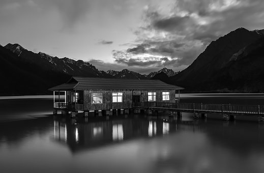 China, House, Home, Lake, Reflections, Mountains