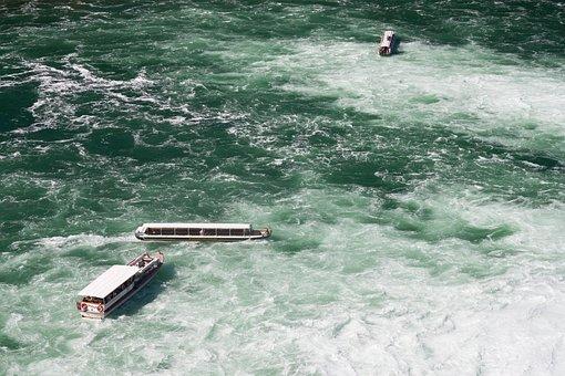 Rhine Falls, Water, Boot, Nature, Schaffhausen