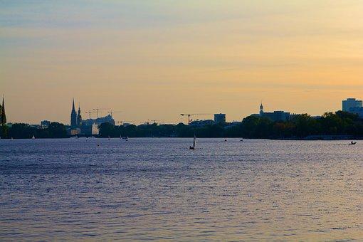 Hamburg, Crane, Alster, Lake, Water, Hanseatic City