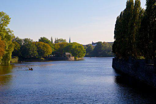 Hamburg, Alster, Boat, Water, Sky, Trees, Lake, Paddle