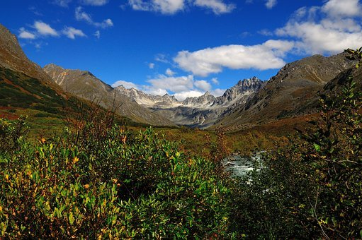 Alaska, Blue Sky, Mountains, Waterfall, Tourism