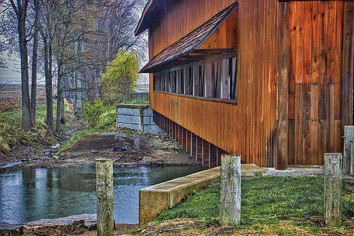 Covered Bridge, Scenery, Trees, Artistic, Art Print