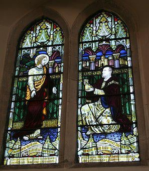 Stained Glass Window, Chartham, St Mary's, Matthew 25