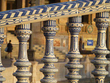 Andalusia, Seville, Plaza España, Crafts, Ceramic, Rail