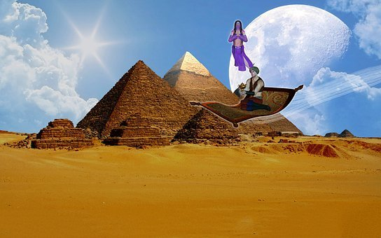 Fantasy, Aladin, Flying Carpet, Pyramids, Fairy Tales