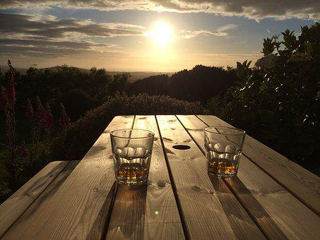 Sunset, Sunrise, Glass, Whiskey, Wood, Bench, Nature