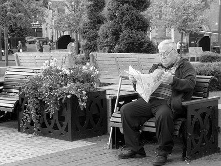 Black White, Man Reading, Park Bench