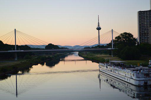 Mannheim, Neckar, Sunrise, Collini Bridge, Ship Jetty