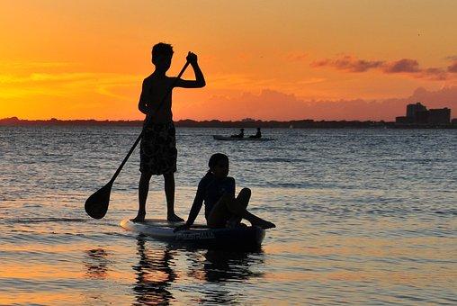 Sea, Sunset, Key Biscayne, Miami, Yellow, Orange