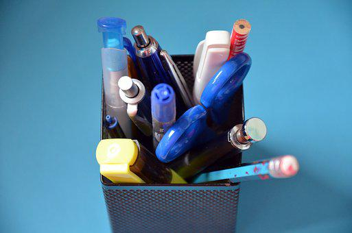 Pen Box, Pens, Scissors, Pen, Highlighter, Pencil