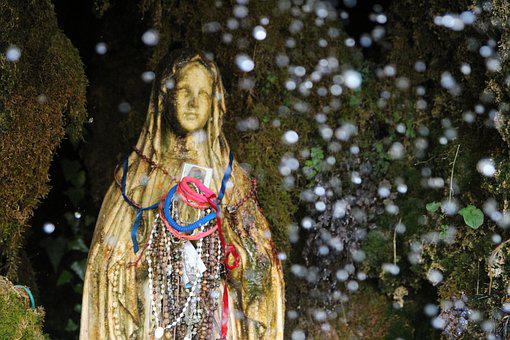 Holy, Statue, Religion, Madonna, Sicily, Waterfall