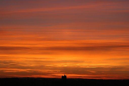 Sunset, Landscape, Sun, Nature, France, Auxerre