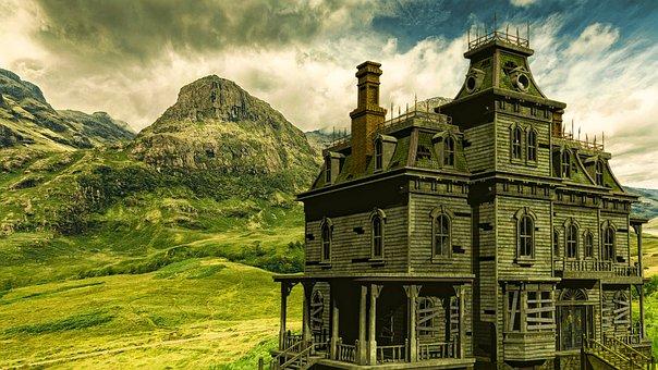 House, Hill, Clo, Landscape, Nature, Sky, Tree, Grass