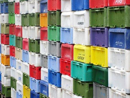 Boxes, Port, Colorful, Transport Crates, Color