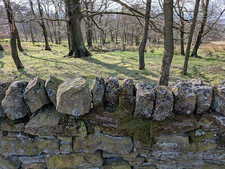 Drystone Wall, Walls, Stones, Outdoors, Uk, Derbyshire