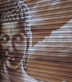 Graffiti, Buddha, Buddhism, India, Faith, Idol