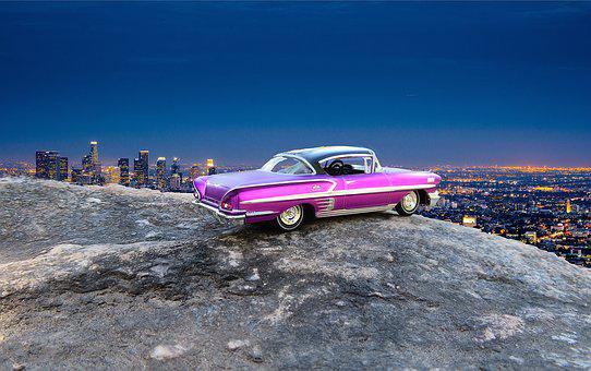 Car, Los Angeles, Overlook, Chevrolet Impala, 1966