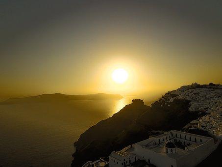 Santorini, Greece, Landscape, Water, Tourism, Heat
