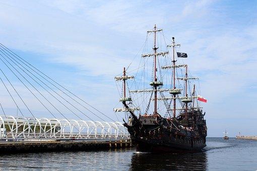 Ship, Sea, Port, Water, Polish Flag, The Coast