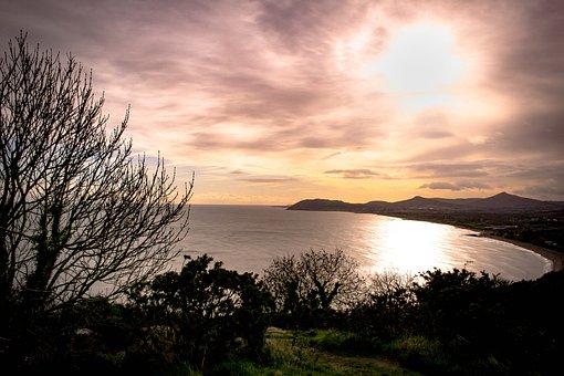 View, Tree, Sunset, Ireland, Beach, Sun, Clouds, Bay