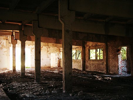 The Abandoned, House, Building, Columns, Factory, Farm