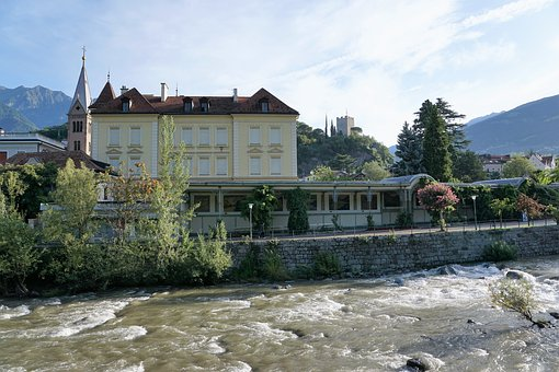 Meran, Tyrol, Italy, Europe, River, Nature, City, Water
