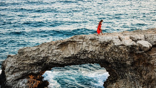 Girl, Rock, Sea, Young, Nature, Summer, Adventure, Red