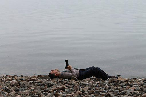 Baikal, Tired Photographer, Shore Of Baikal