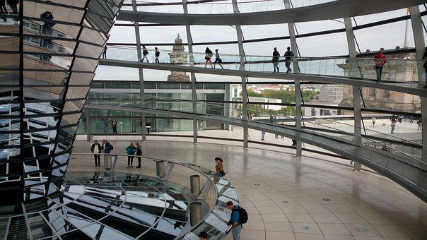 Berlin, Bundestag, Mirror, Germany, Building