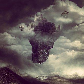 Landscape, Fantasy, City, Antique, Sky, Clouds