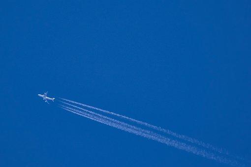 Aircraft, Contrail, Air, Blue, Sky, Fly, Flight