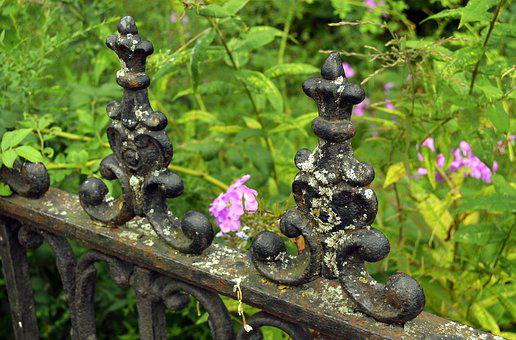 Gate, Iron, Black, Dark, Weathered, Old, Decoration