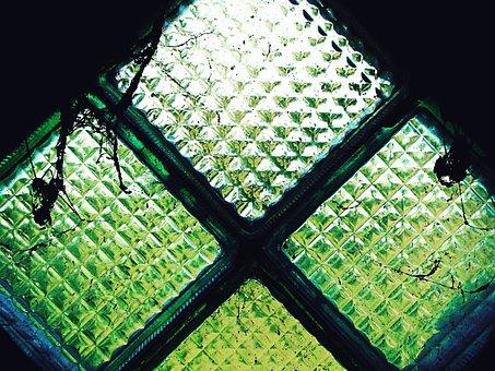 Window, Old, Glass, Rhombus, Spider Web, Green, Greens