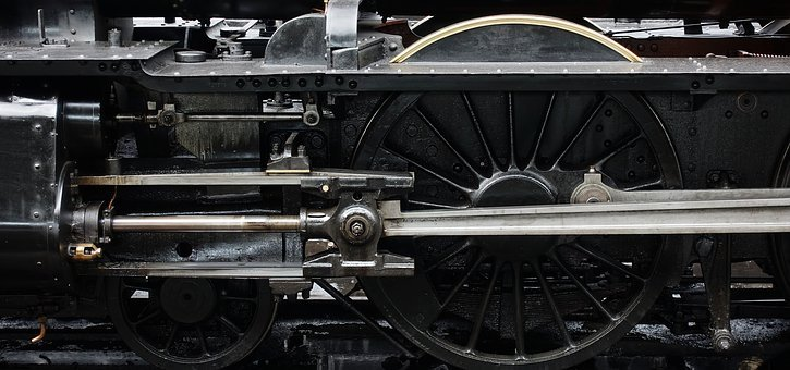 Locomotive, Steam, Engine, Wheel, Piston, Machine