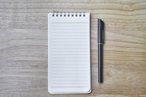 Notebook, Pen, The Work, Course, Work, Page, White